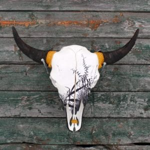 Bison skull hanging on barn wood